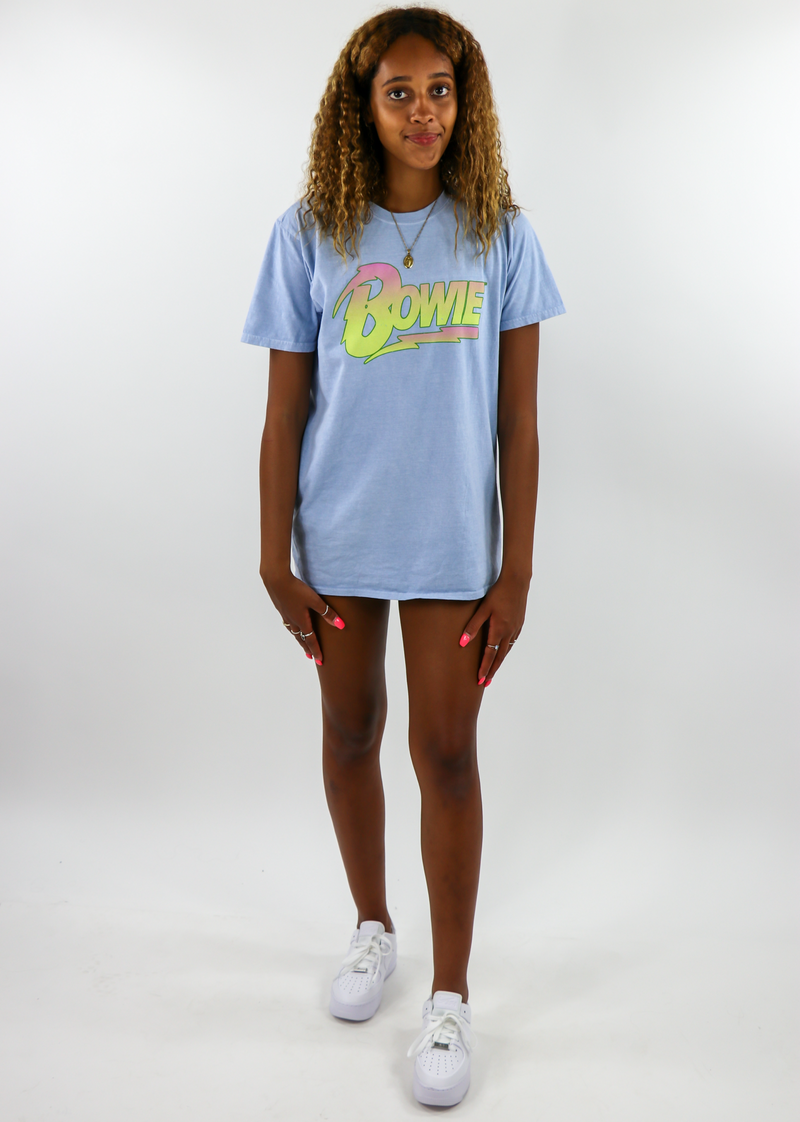 David Bowie Oversized Graphic Tee ★ Blue - Rock N Rags