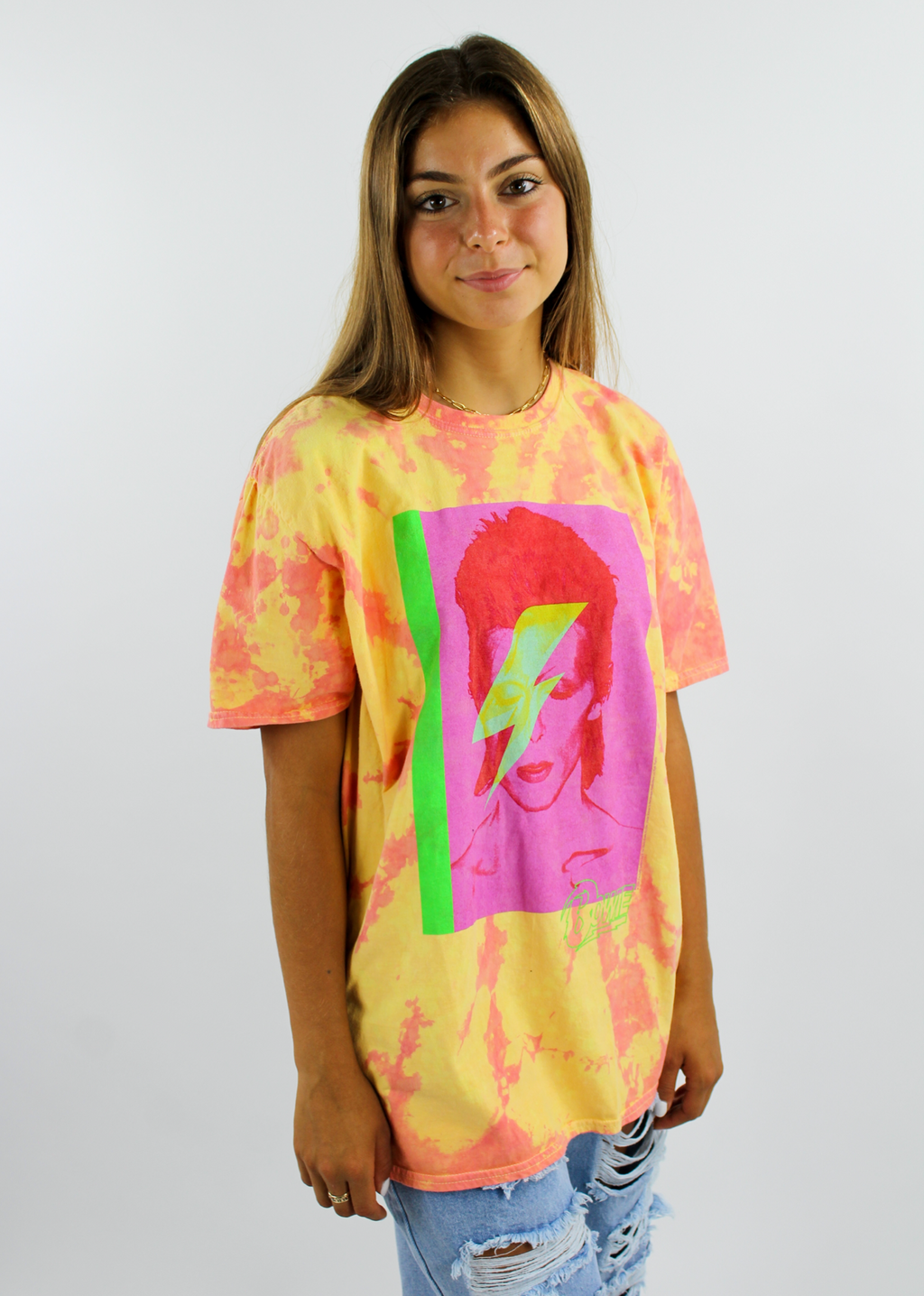 David Bowie Oversized Lightning Tee ★ Orange Tie Dye