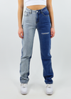 Multi Color Half Light Blue Half Dark Blue Jeans with distressing