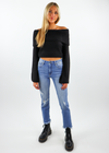 black off the shoulder sweater knitted top with wide sleeves