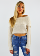 Cream off the shoulder sweater knitted top with wide sleeves