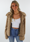 taupe brown teddy bear cheetah fuzzy jacket