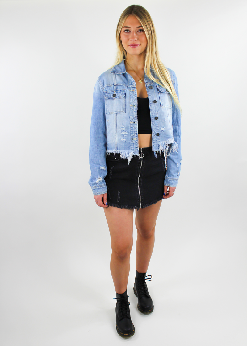 Light Blue Distressed Jean Jacket Womens