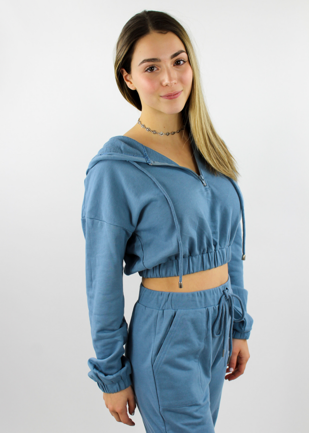 Sky's The Limit Quarter Zip Hoodie ★ Dusty Blue