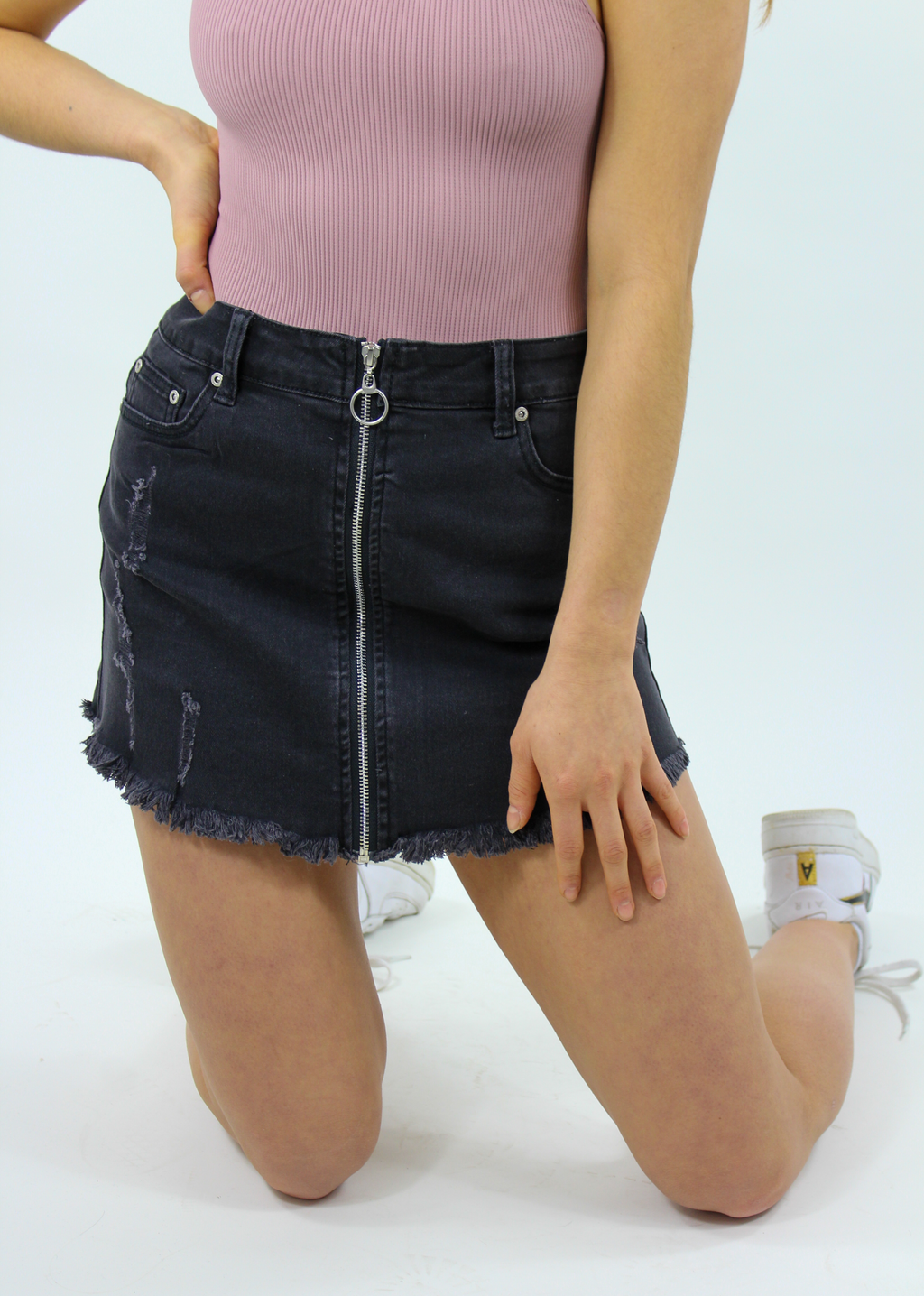 Black Beatles Skirt ★ Black Denim - Rock N Rags