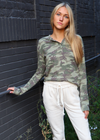 Hide and Seek Long Sleeve Thermal Henley ★ Green Camo