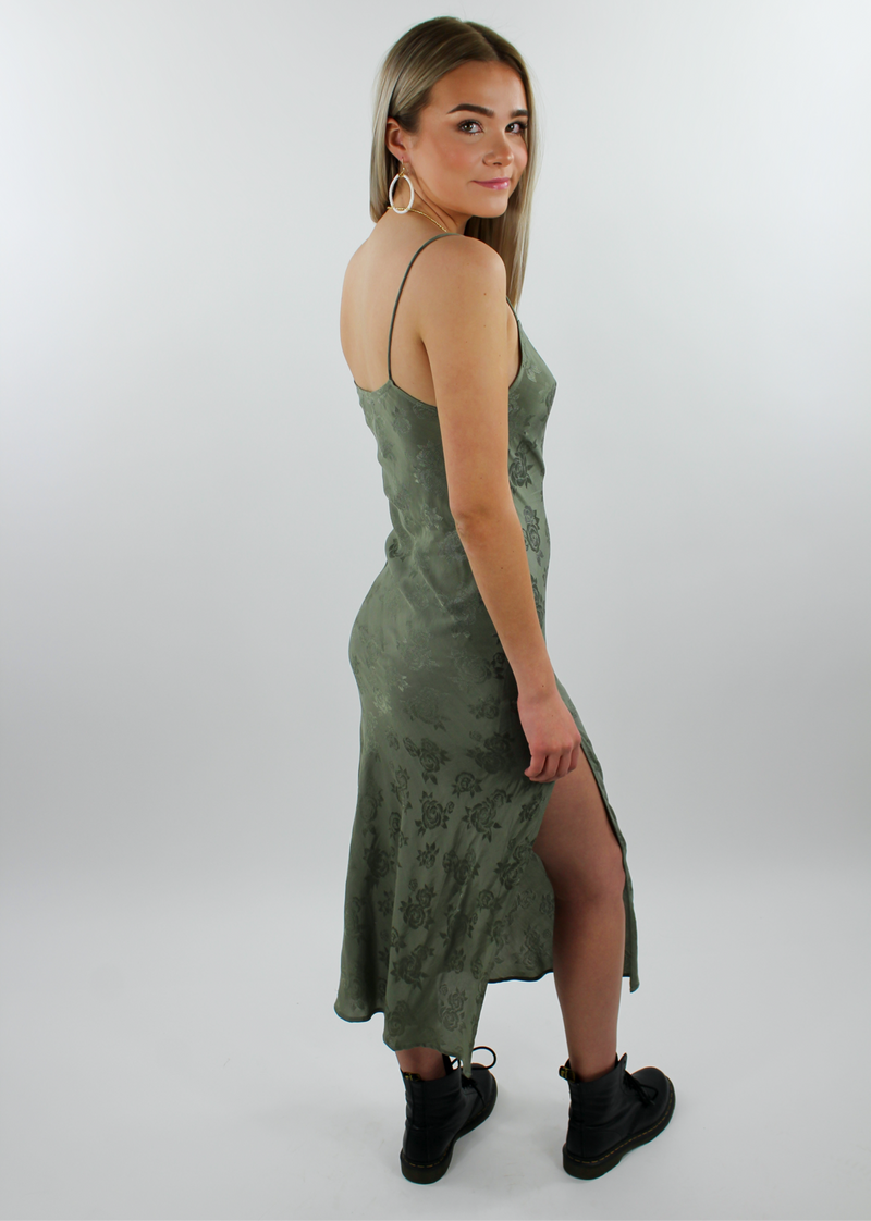 A Touch Of Silk Dress ★ Olive Green - Rock N Rags
