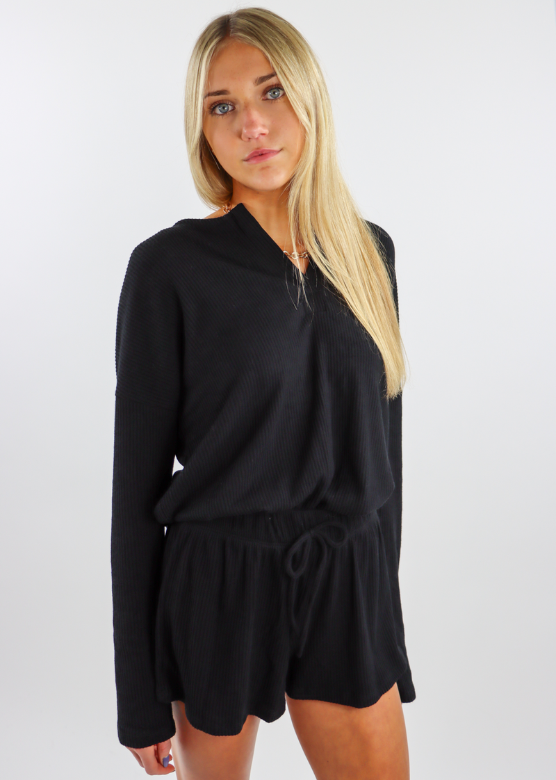 Stay Home Club Henley Shorts Set ★ Black