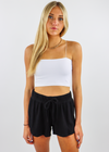 rib knit black loungewear set shorts with drawstring tie