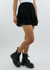 Short Black Ruffle Skirt with Elastic Waistband