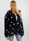 Collared Fur Black Zip Up Jacket with White Stars