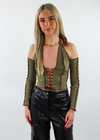 olive, lace-up, halter, detachable sleeves, crop - Rock N Rags