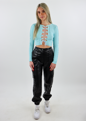 light blue, lace-up, long sleeve, crop - Rock N Rags