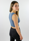 Take The Plunge V-Neck Crop Top ★ Dusty Blue - Rock N Rags