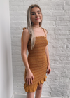 Smocked Bodycon Dress ★ Burnt Orange - Rock N Rags