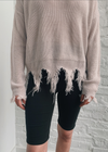 Distressed Knit Sweater ★ Light Mauve - Rock N Rags