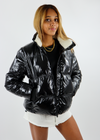 shiny black with fleece collar puffer jacket chic winter coat