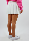 white preppy pleated schoolgirl skirt