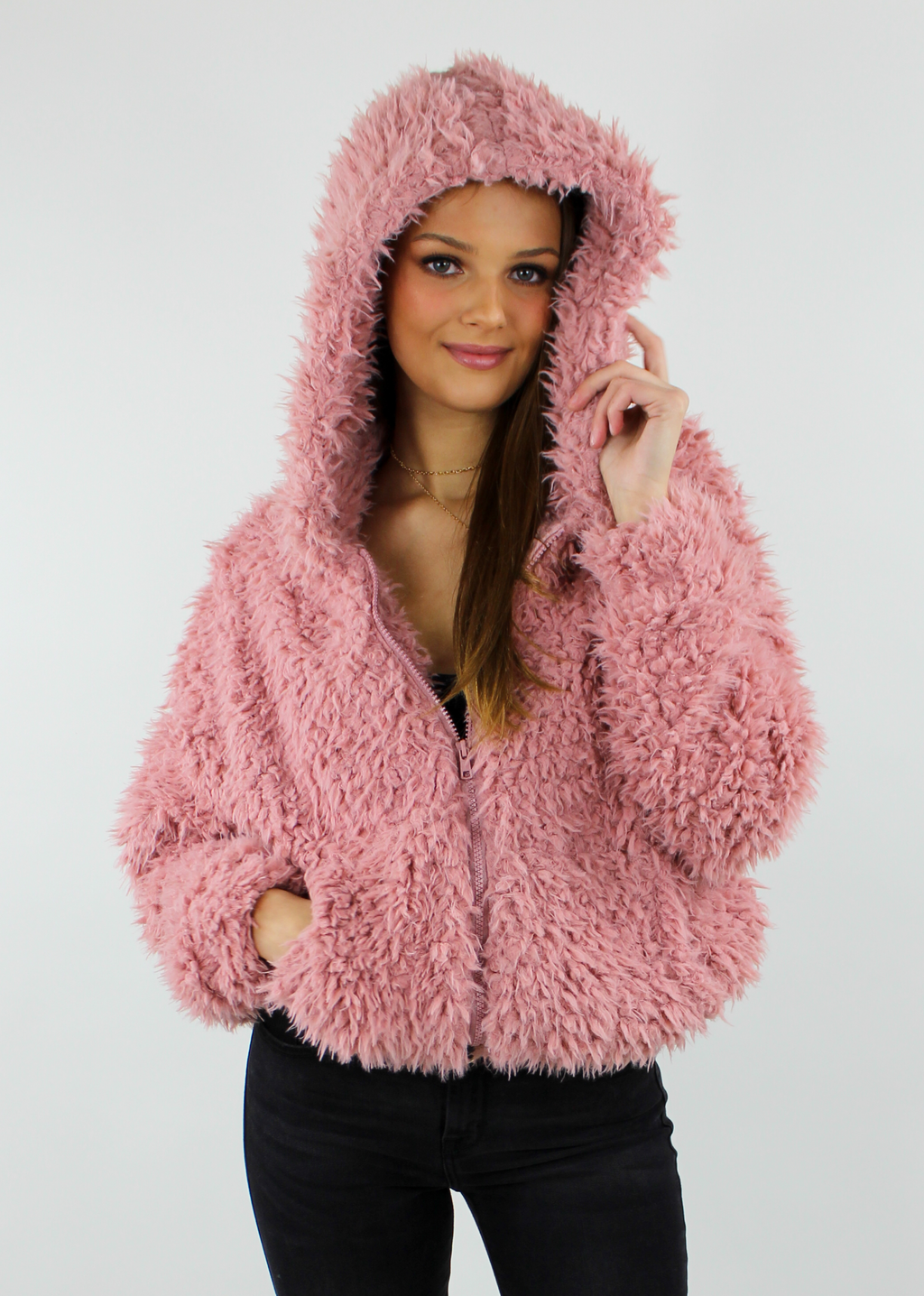 Lush Life Fuzzy Zip Up Jacket With Hood ★ Mauve