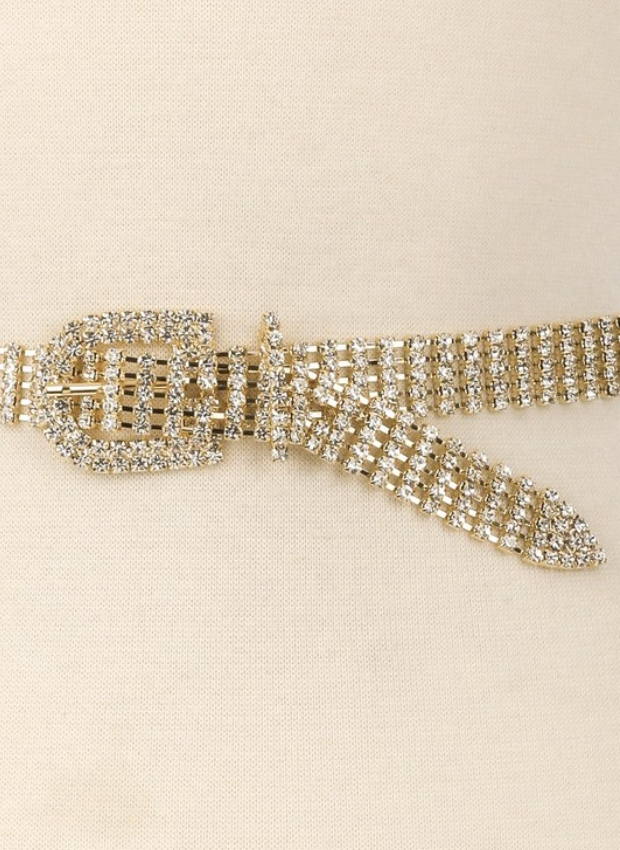 Crystal Rhinestone Belt ★ Gold - Rock N Rags