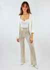 cool funky gold sequin flare party pants