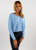 light blue, distressed, knit, cropped, comfy, light, everyday, sweater, long sleeve, ribbed, v-neck-Rock N Rags