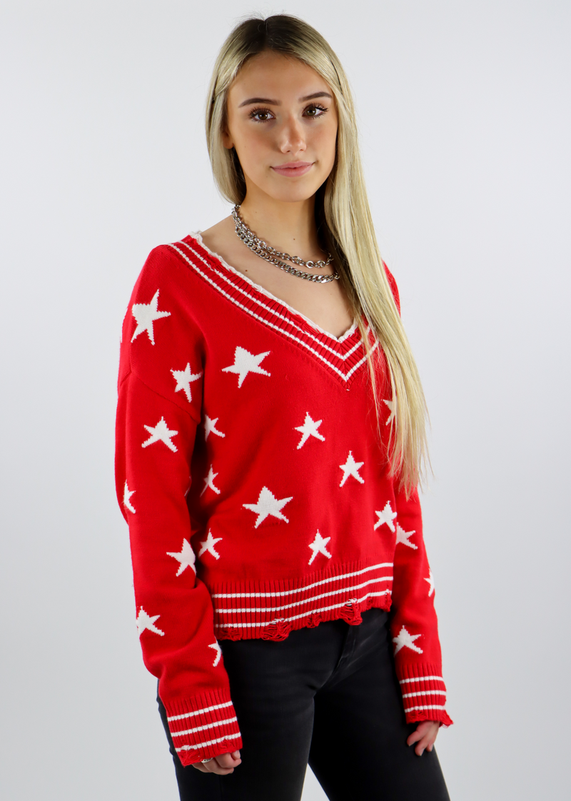 Red Distressed Hem and sleeved Knit Cropped Comfy Light Everyday Sweater with White Stars