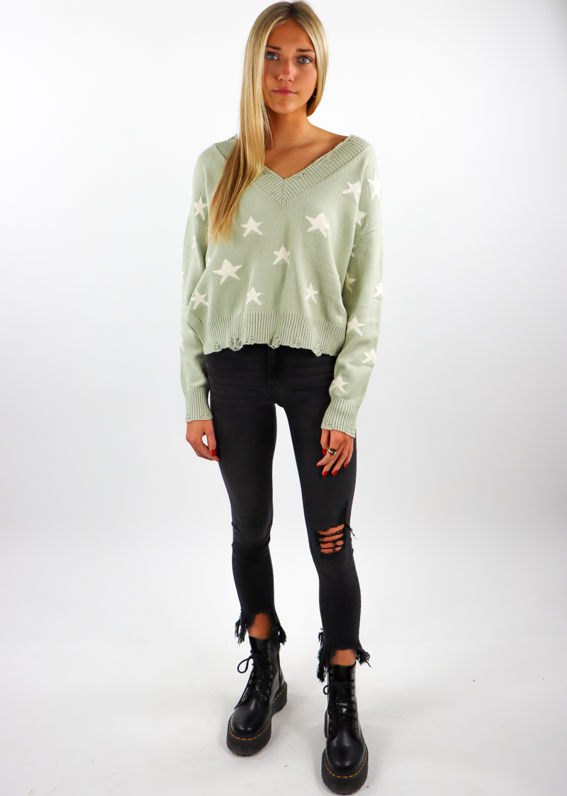 Sage Green Distressed Hem and sleeved Knit Cropped Comfy Light Everyday Sweater with White Stars