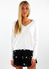 white Distressed Hem and sleeved Knit Cropped Comfy Light Everyday Sweater