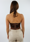 wild things top, brown, criss cross front, halter, crop, top - Rock N Rags
