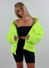 Light Up The Night Fuzzy Jacket ★ Neon Green
