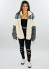 Warm and Fuzzy Zip Up Jacket ★ Ivory and Grey - Rock N Rags