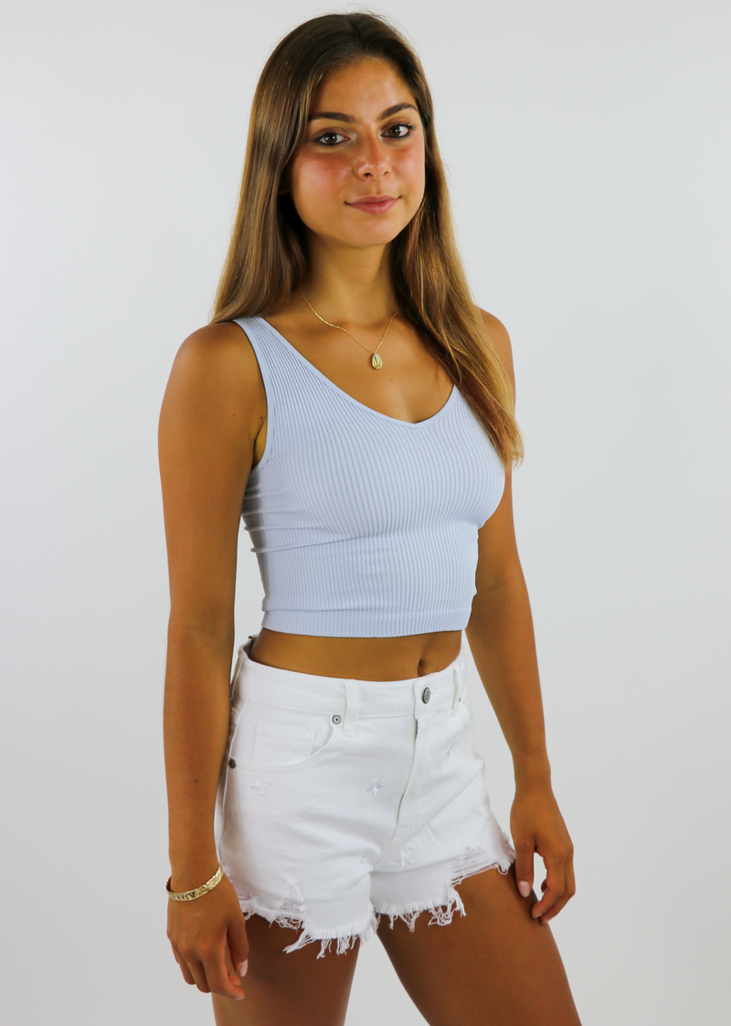 Take The Plunge Full Length Top ★ Heather Blue - Rock N Rags