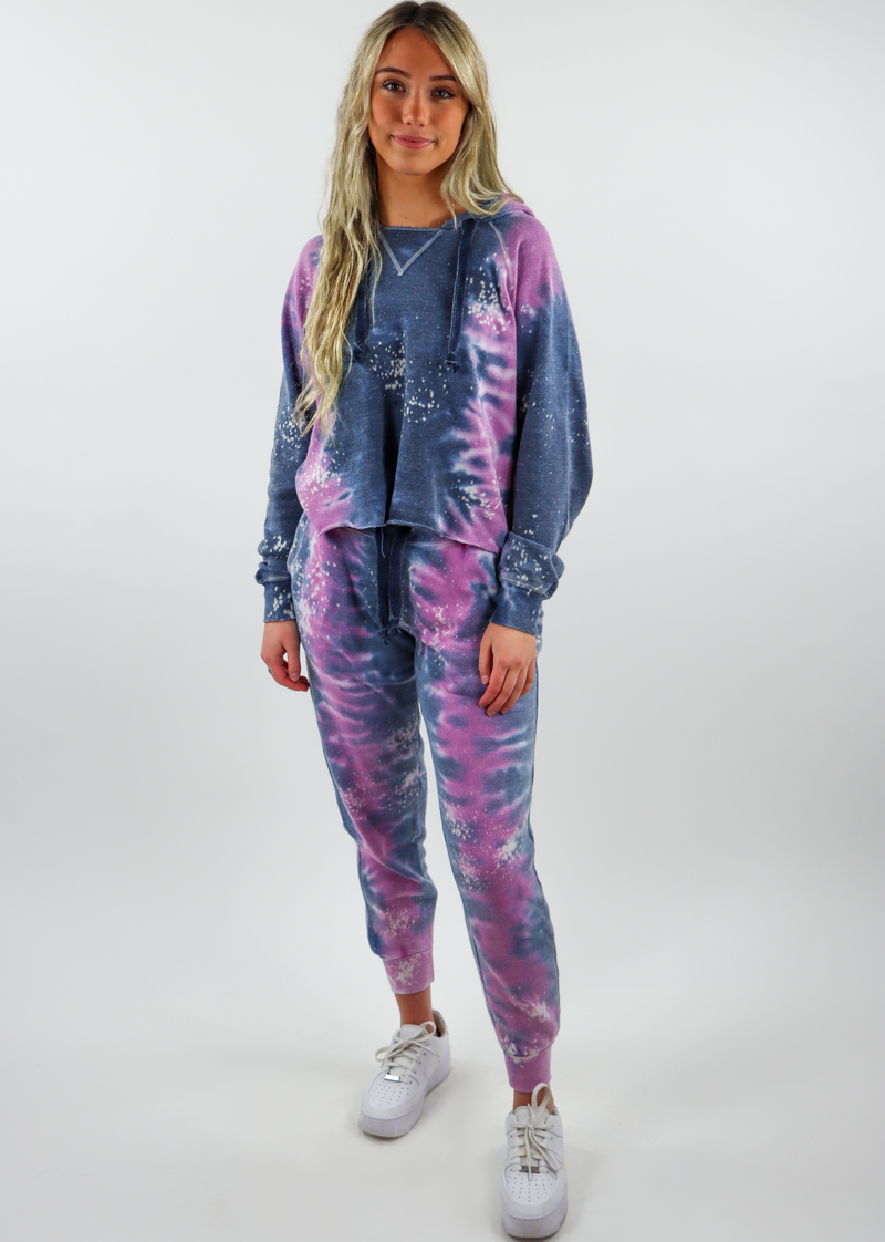 purple pink magenta navy blue acid wash tie dye matching sweat set sweatshirt hoodies
