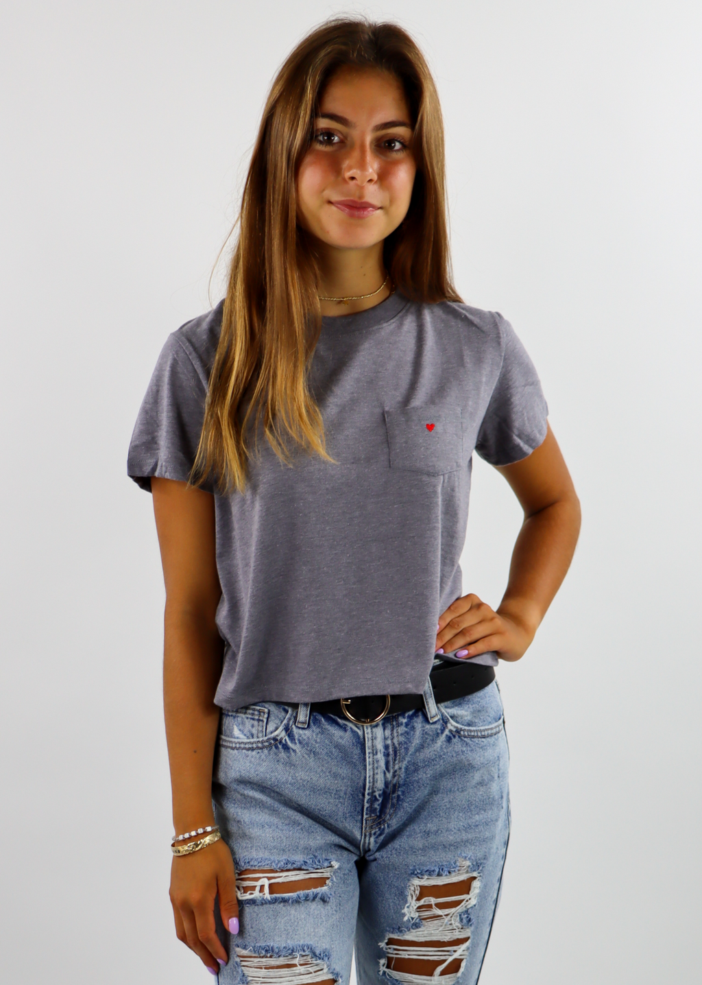 Heart of Gold Cropped Pocket Tee ★ Grey