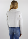 White Quarter Zip Cropped Preppy Sweater