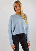 Baby Blue Cable Knit Design Cropped Crew Neck Sweater