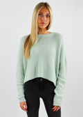 Mint Sage Green Cable Knit Design Cropped Crew Neck Sweater