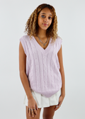 lavender, cableknit, vneck, oversized, sweater, vest, cute, fun, girly, top- Rock N Rags
