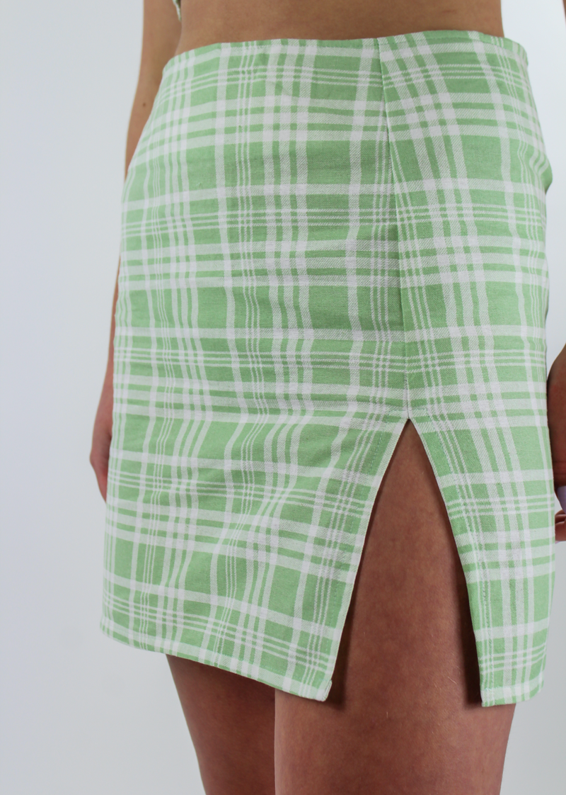 Clueless Slit Skirt ★ Green Plaid - Rock N Rags