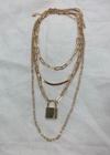 4 Layer Lock Chain Necklace ★ Gold & Silver