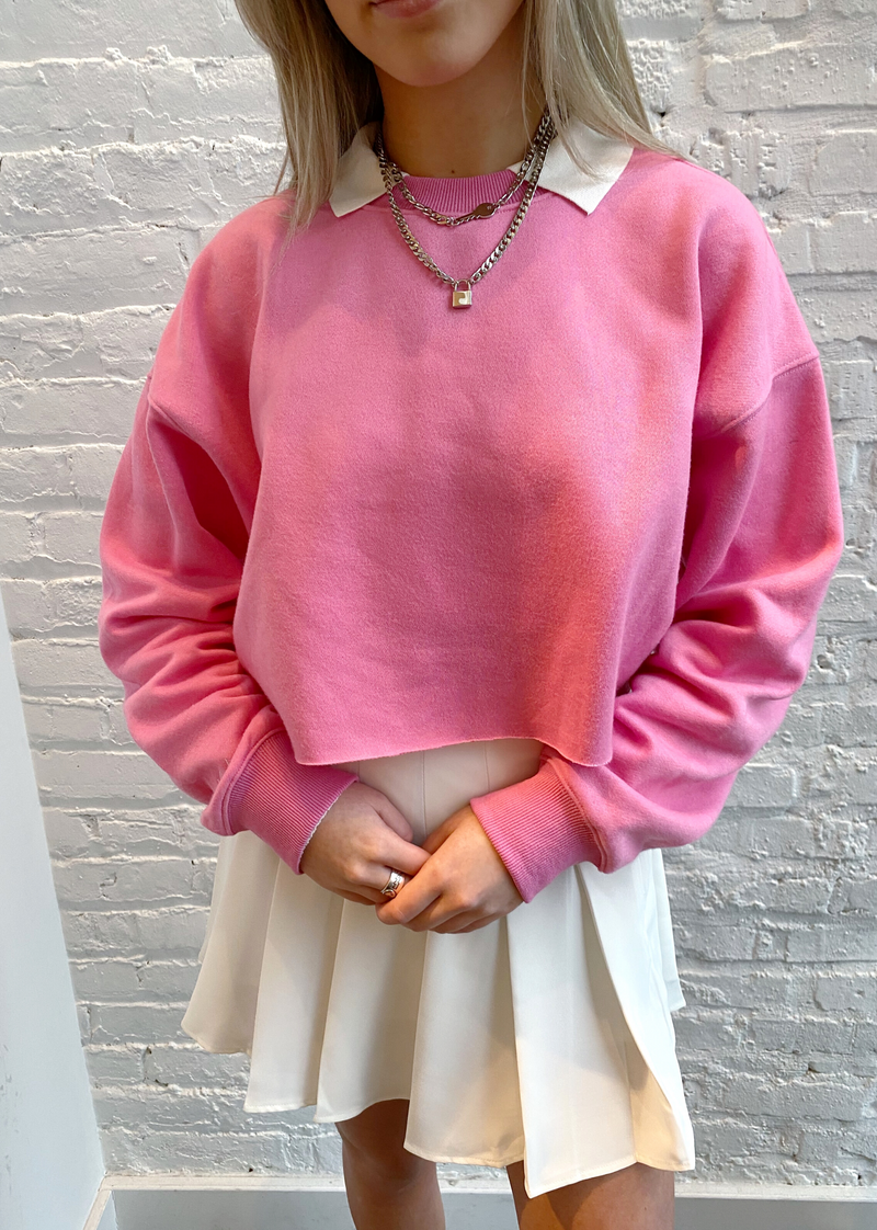 original pink cropped crewneck preppy