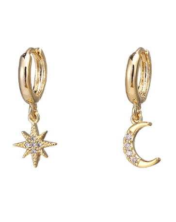 Space Oddity Moon And Star Dangle Earrings ★ Gold - Rock N Rags