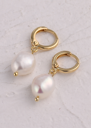 Freshwater Pearl Dangle Earrings ★ Gold - Rock N Rags