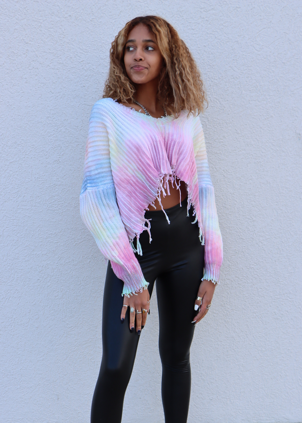 Take A Chance On Me Cropped Sweater ★ Rainbow Tie Dye