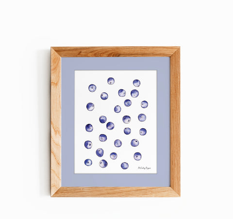 watercolor illustration of blueberries in a wood frame