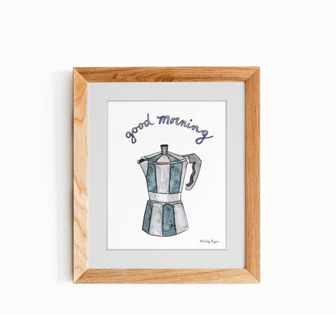 watercolor illustration of a stovetop espresso maker in a wood frame