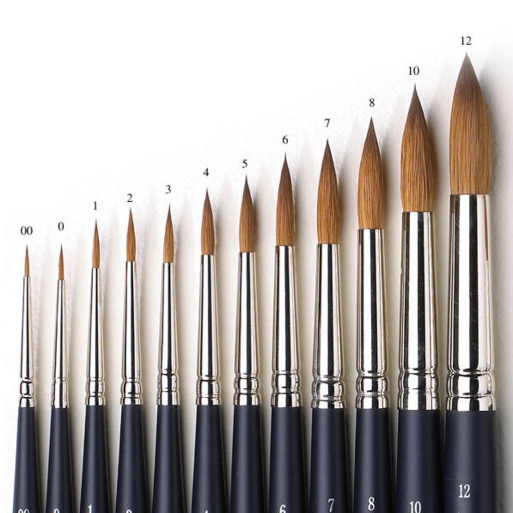 Different sized round watercolor brushes