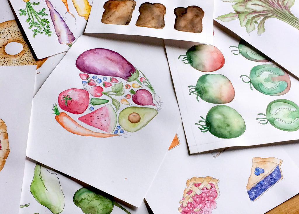 Watercolor illustrations messily piled on top of each other