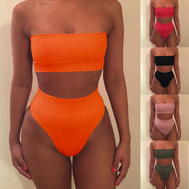 Sexy Women Bikini Set Off Shoulder Solid Bandage Push Up Padded Swimwear Swimsuit